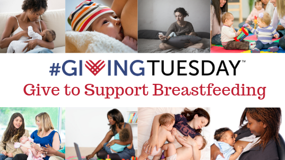 Collage of breastfeeding images surrounding the words give to support breastfeeding hashtag giving Tuesday